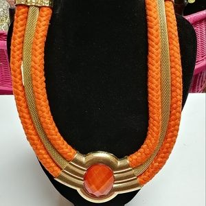 Jewelry - Gold and Orange 3 Strand Necklace